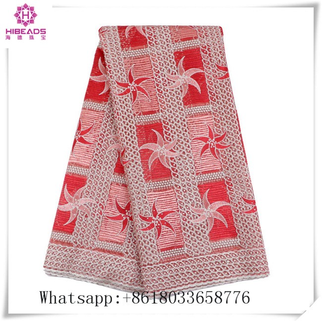 Factory Outlet Polyester Material Pink and red Flower Pattern Top One China African Lace