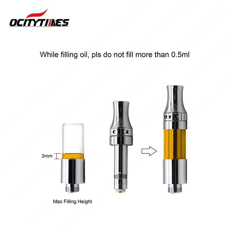 Top filling machine fill ocitytimes C19-VC 510 thick oil cbd vape cartridge with 4*1.5mm vertical ceramic coil