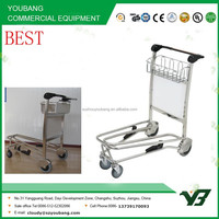 2015 best price 4 wheels 304 stainless steel airport luggage trolley with brake (YB-AT023)