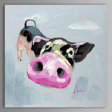 super big nose the cute pink pig is smelling food 100%handmade classic decoration oil painting in canvas