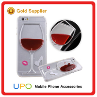 [UPO] Hot Sale 3D Red Wine Cup Liquid Transparent Cell Phone Case Cover For Apple iPhone 5 5S SE 6 6S 6 Plus
