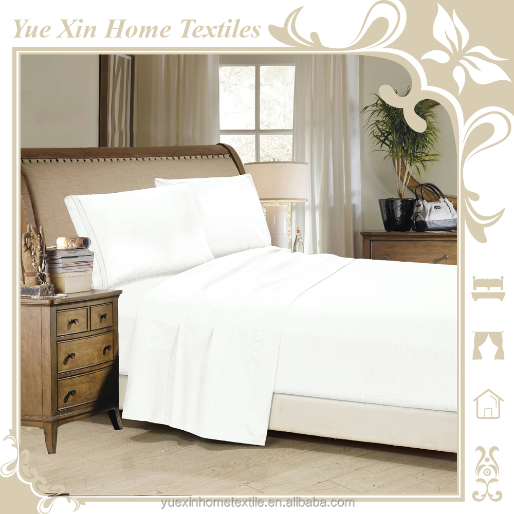 AU Size Stock 4pcs Bed Sheet Set with Embroidery Design, include Flat Sheet,Fitted Sheet and Pillowcases