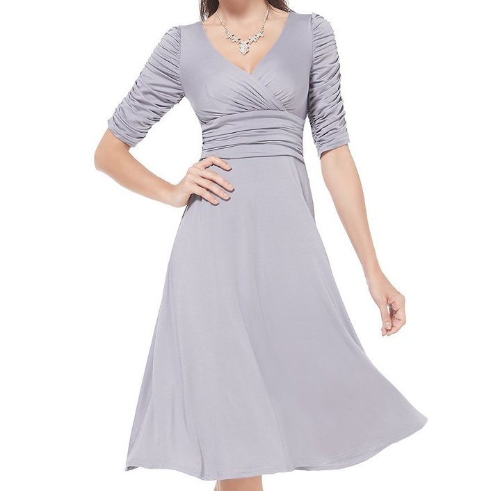 western ruched half sleeve classy v-neck casual dresses cocktail women clothing manufacturers online shopping