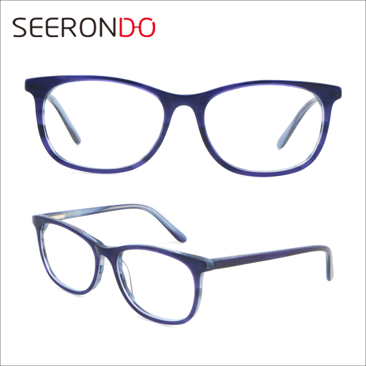 SEERONDO 2017 China Instock Cheapest Female Optical Eyeglasses Classical Handmade Acetate Square Frame