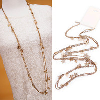 Japan and Korea Multi Layers Alloy Four Leaf Clover Charms All-Match Long Necklace