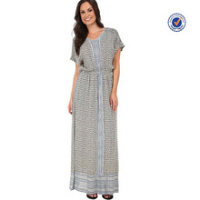 Short sleeves turkish scarf maxi dress latest design turkish clothes for women