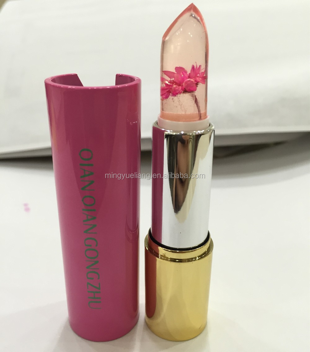 newest temperature color change jelly flower lipstick