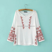 MONROO fashion embroidery V-neck new seven sleeve woman blouse