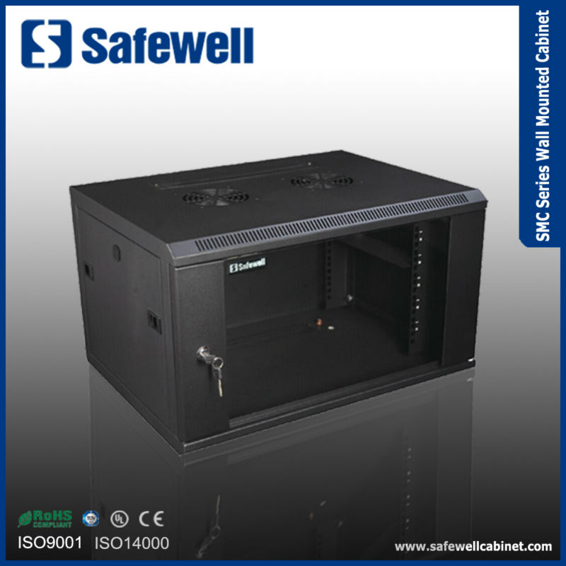 SMC6509 Safewell SMC Series Single Section 600 Width 500 Depth Color Black 19 inch 9U Wall Cabinet Rack