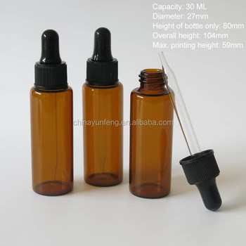 Cylinderical Amber 30ml glass dropper bottles