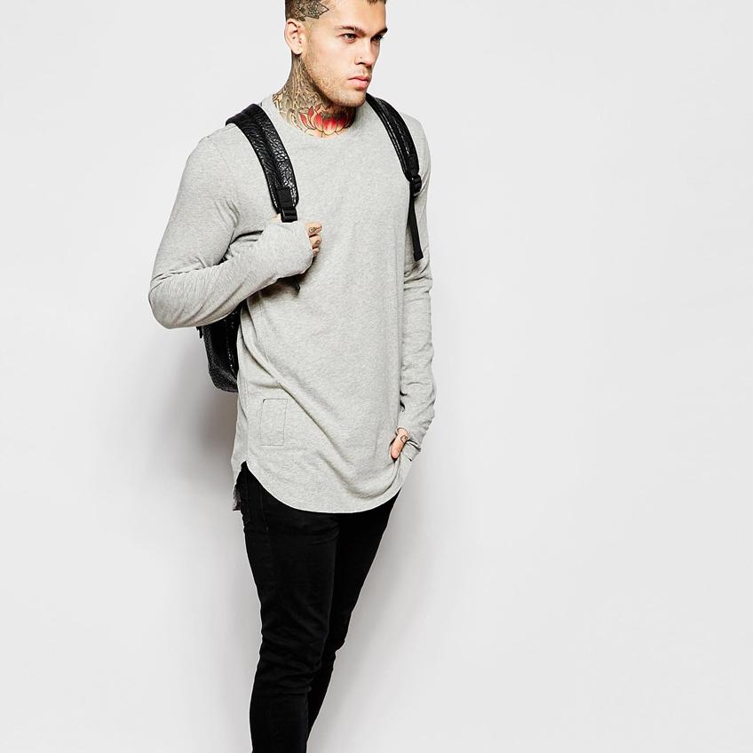 Custom grey long sleeve tee shirts 100 cotton fashion t for Personalized long sleeve t shirts