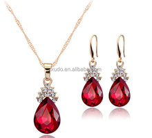 2016 fashion gold jewelry sets 18k gold crystal jewelry set in stock