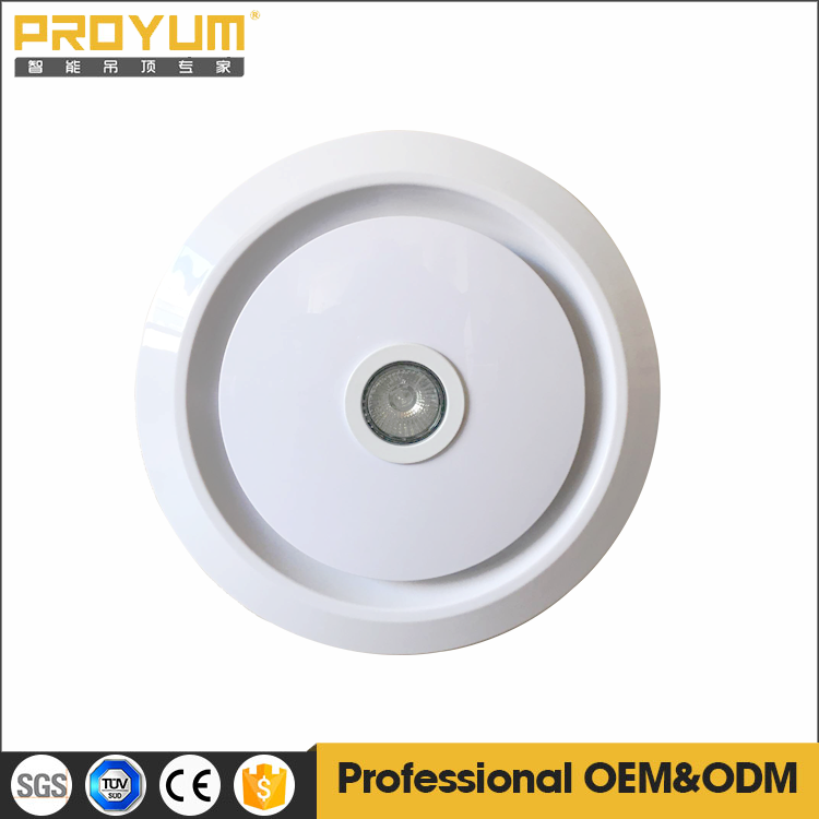 Round ceiling mounted exhaust fan with LED lighting