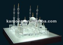 Optical glass classics crystal building model, crystal islam gift , crystal mosque
