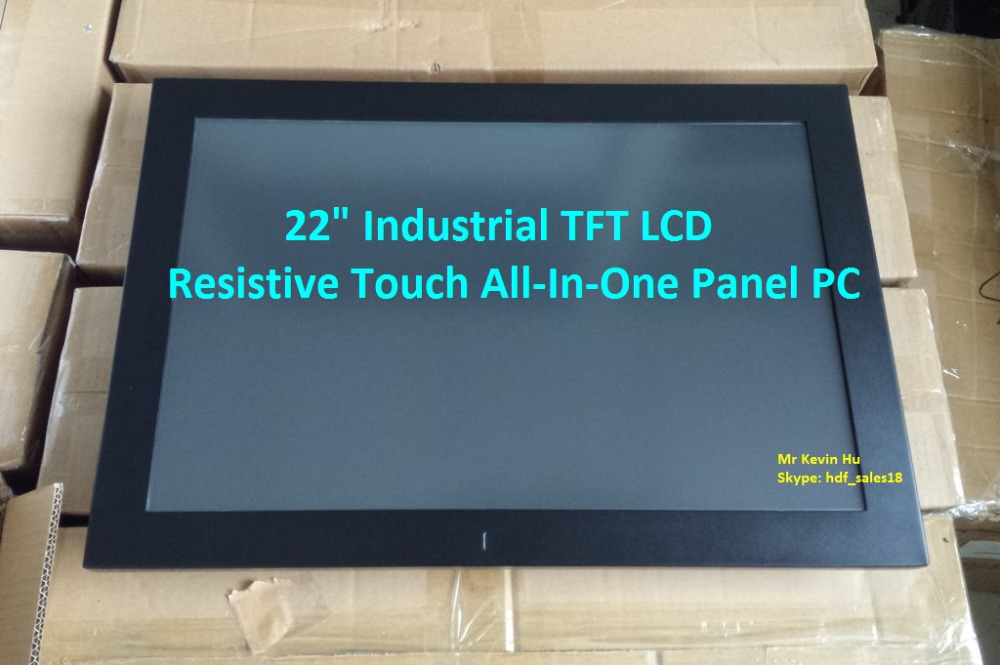 "HDF 22"" low cost industrial grade all-in-one resistive touch screen computer /embedded industrial touchcomputer"