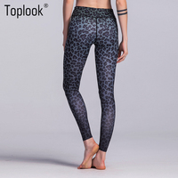 Toplook Leopard Print Workout Clothing Leggings Custom Jogging Sports Tight Yoga Pants Women L54