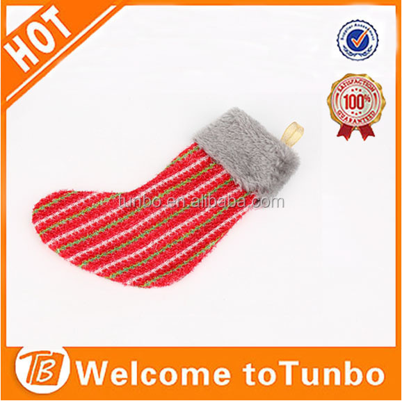Bulk cheap christmas sock promotional eco hanging decoration christmas