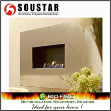 Hot New Design Plaza-SS, wall mount ethanol gas log fireplace