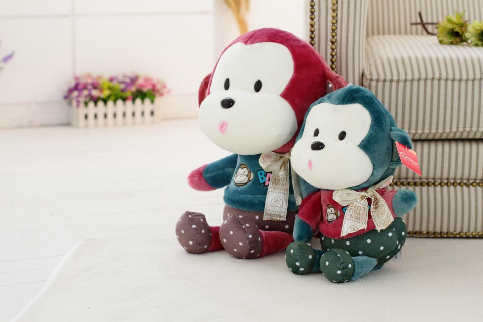 XS/S/M/L/XL promotional customzied blue stuffed plush baby ape forest animal toy with red T-shirt(with embroidered logo)