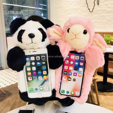 Hot Sale Winter Warm Hand Sex Girl Animal Mobile Phone Case For iPhone Panda Cute Cartoon Phone Back Cover