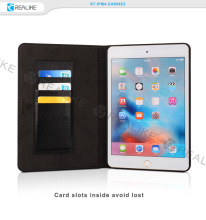 "Custom metal logo fashionable design leather material card slot 10.1"" tablet silicone case for ipad mini 4"