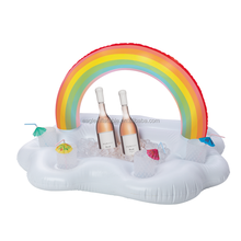 China factory supply inflatable RAINBOW CLOUD FLOATING BAR float swimming pool bar drink cooler with 4 cup holders