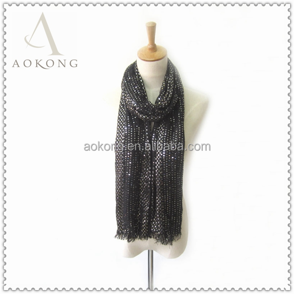 Hot sell fashion women black shimmery sequin lurex viscose long scarf