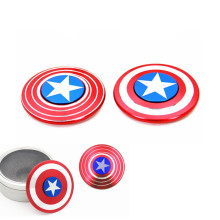 High Quality Marvel Spinner Aluminum Alloy Fidget Spinner Toys AB Side Captain America Finger Spinner