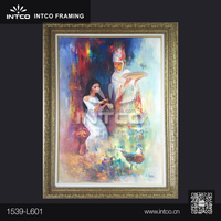 INTCO classic plastic framed womens canvas oil painting