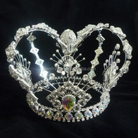 fashion metal full crystal cheap men crowns for party