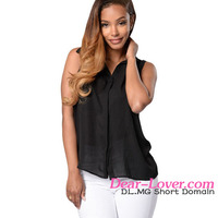 Hollow-out Shirt Chain Back fashion blouses ladies tops latest design