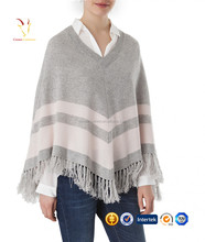 Strips and Tassel Knitted Cashmere Poncho Shawl