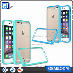 2016 Wholesale Cheap Price transparent 2 in 1 TPU Bumper + Hard Plastic Hybrid Back Cover Acrylic Case For iPhone 6 6S