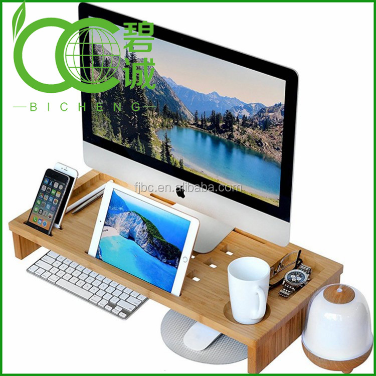 Multifunctional Bamboo Monitor Stand Riser with Laptop Mobile Phone Storage Organizer Stand Desktop Container