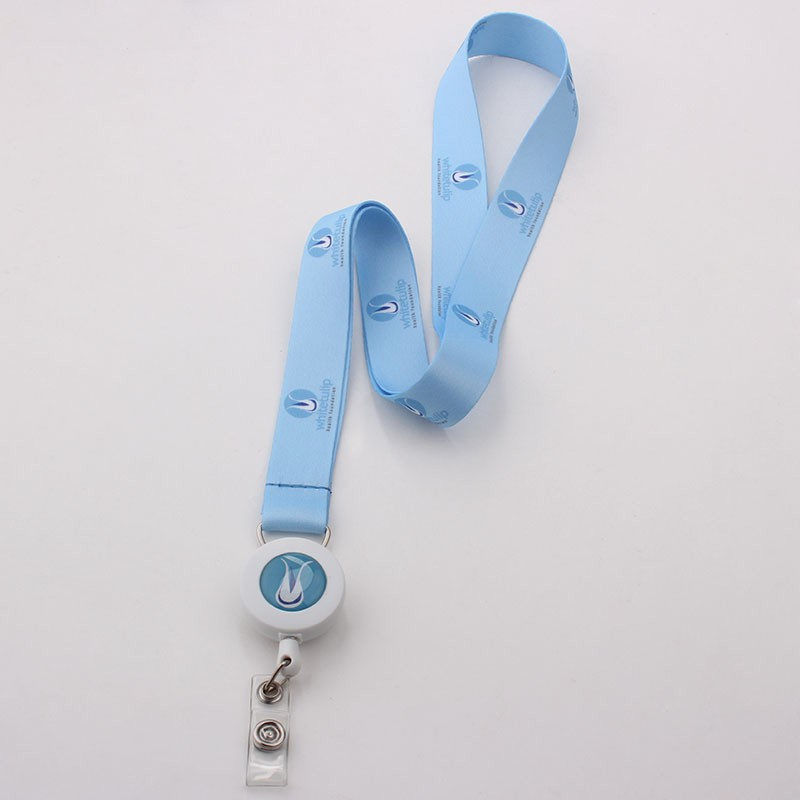 Heat transfer printing diy logo id card holder plastic coil lanyard no minimum order