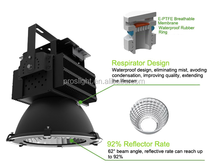 High lumen500w led high bay light,500W industrial led high bay light fixture,led high bay light 44000 lumen