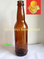 330ml high quality factory price amber glass beer bottle