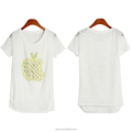 OEM manufacturer Wholesale high quality rhinestones knit lace white custom t-shirt women