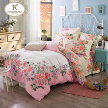 Pink Flower Top Grade Pigment Cotton Luxury 4pcs Bedding Set