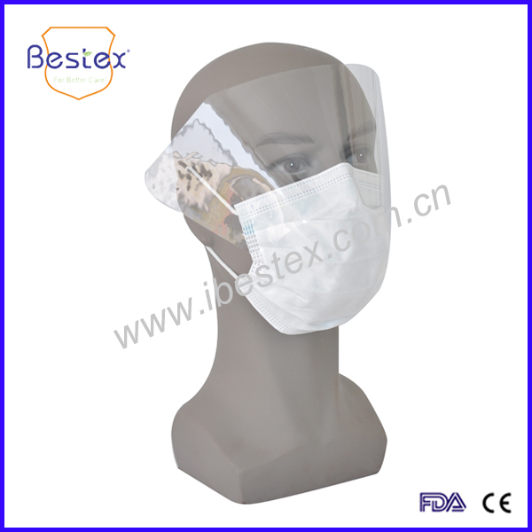 CE Certificated 4-Ply Disposable Face Mask With Splash Shield