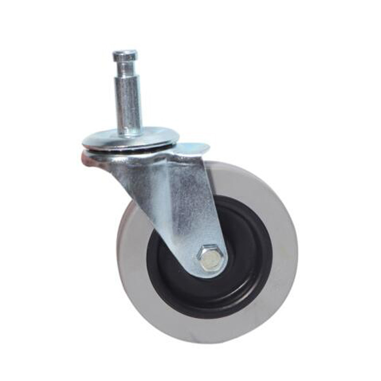 11*35 3 Inch Solid Small Rubber Plastic Inserted Wheel with Inserted Link Copper Ring Gray Plastic Casters Wheels