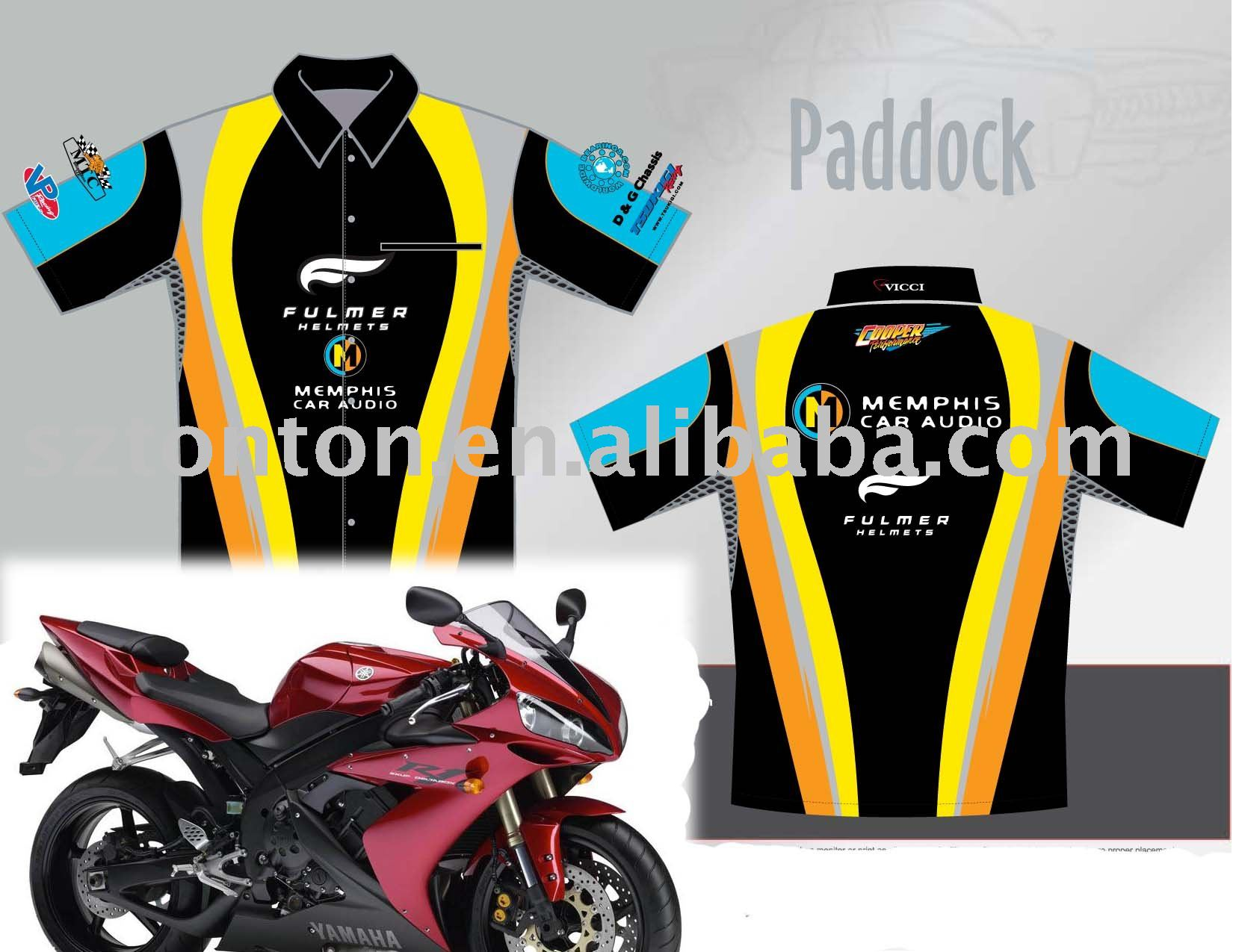 fully sublimation pit crew shirt, custom made motorcycle pit crew shirt