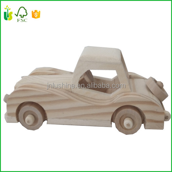 Kids Childrens Wooden Car Truck Pickup Natural Wood Toy Toys Office Gift