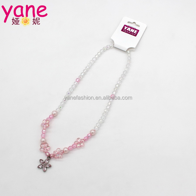 New design pink beaded with sparkling rhinestone flower necklace jewelry
