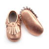 Wholesale Rose Gold Genuine Leather Moccasins Baby Shoes 2017