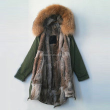 Free shipping women / men winter Real rabbit fur lining natural color raccoon fur collar long jacket coats furs parka