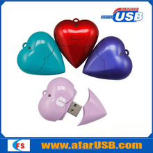 Gift heart USB flash memory, plastic heart shape pen drive , promoitional heart usb flash drive 8gb