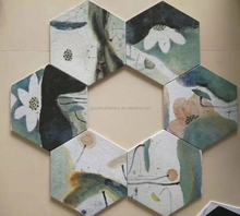 Lotus Ink Wash Painting Patchwork tile hexagonal, Rustic Wall Tile 15x26x30cm