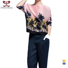A Forever Fairness Autumn New Style T Shirts Lady Sunset Coconut Trees Printing Half Sleeve T Shirt