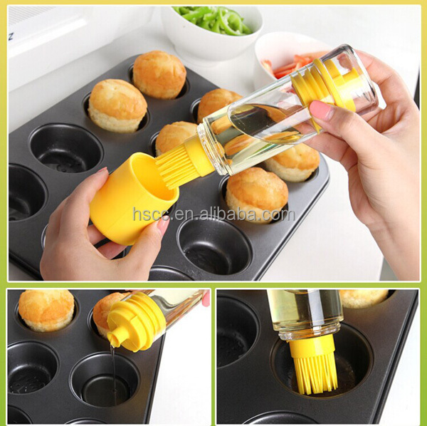 Barbecue tool BBQ cooking silicone oil glass bottle with basting brush
